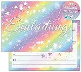Regenbogen Einladungskarten Geburtstag | 12 Glitzer Geburtstagseinladungen | Kindergeburtstag Einladungskarten für Mädchen | Kinder Partyeinladungen