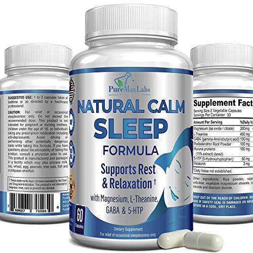 Natural Calm Sleep Aid with Magnesium, L-Theanine, Melatonin, GABA, 5-Htp | Sleep Aid | 60 Capsules, Natural Stress Relief, Non-GMO