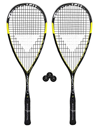 Raquette de Squash Tecnifibre Carboflex 125 Heritage Basaltex (2 x Raquettes + 3 balles de Squash Pro)
