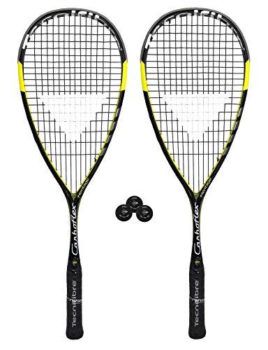 Raqueta de squash Tecnifibre, Carboflex 125 Heritage Basaltex, tamaño 2 x Rackets + 3 Pro Squash Balls