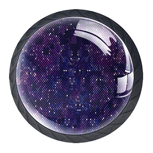 Pixelatierte lila Weltraum-Universum-Schrank, Kommode, Schublade, Griff aus Glas für Schranktür, Kleiderschrank, Schrank