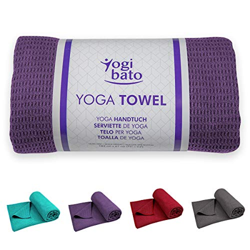 Yogibato Toalla de Yoga – Antideslizante y de Secado rápido – Toalla para Pilates Antideslizante – Toalla Antideslizante para Bikram y Hot Yoga – [183 x 61 cm] - Morado