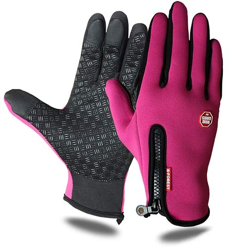 Bruce Dillon Outdoor Sports Waterproof Hiking Winter Bicycle Bike Cycling Gloves for Men Women Windstopper Simulated Leather Soft Warm Gloves - Red X S