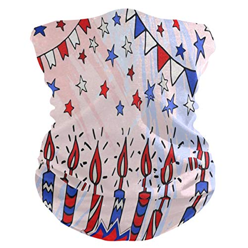 Blot Flags Candles Stars Us Independence Day Fourth Of July Half Face Mask Scarf Cover Dust Wind Neck Gaiter Bandana Women Men