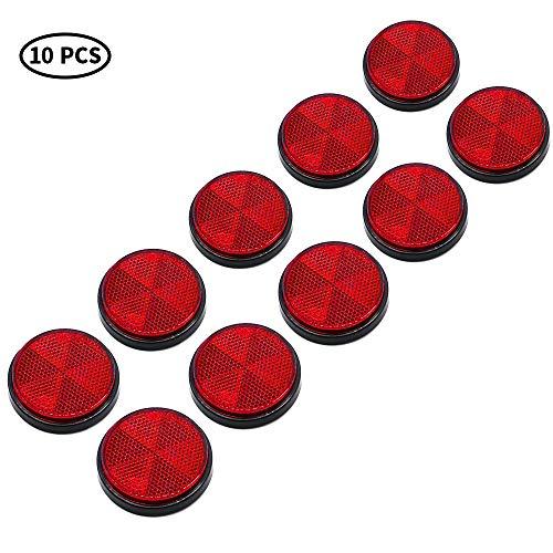 AOHEWEI 10 Pack Runde Reflektoren Selbstklebende Kreisförmige Reflektoren Aufklebbare Sicherheitsreflektoren Hinten für Wohnwagen LKW-Anhänger Boot Motorrad Traktor Zaun Torpfosten (Rot)