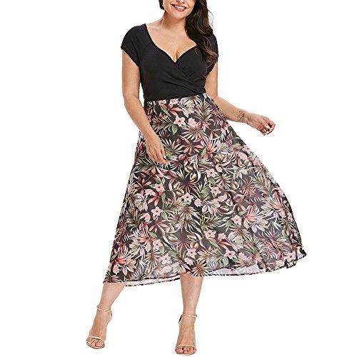 VJGOAL Damen Kleid, Frauen Plus Size Mode V-Ausschnitt Floral Maxi Abend Cocktail Party Hochzeit Boho Strand Frühling Sommerkleid (XL / 44, W-Blätter-Schwarz)
