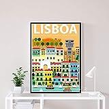 danyangshop Impresión En Lienzo Lisboa Vintage Viajes Ciudades Paisaje Carteles HD Impresión Lienzo Arte Pintura Cuadro De Pared para Sala De Estar W-591 (50X90Cm) Sin Marco