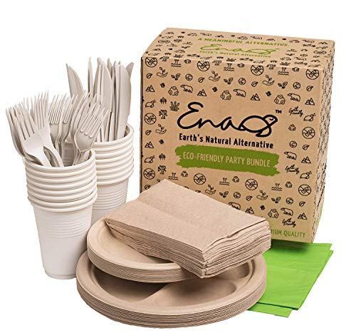 Eco-friendly Camping Supplies [16 Dinnerware Set] for Picnic Basket & Party Supplies. Compostable Paper Plates, Napkins, Biodegradable Utensils, Cups, Green Tablecloths, by Earth's Natural Alternative