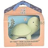 Tikiri Naturkautschuk Rassel in Geschenkbox, Schildkröte, Badewannenspielzeug, für Babys und Kinder ab 0+ Monaten