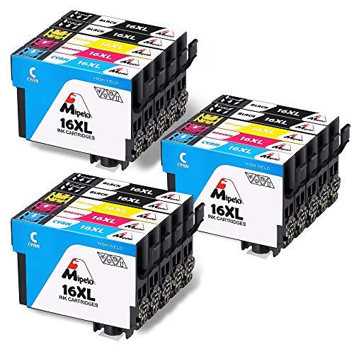 Mipelo Compatible para Epson 16 16XL, 15 Paquete Alta Capacidad Cartuchos de tinta con Epson Workforce WF-2630 WF-2750 WF-2540 WF-2530 WF-2510 WF-2520 WF-2650 WF-2010 WF-2660 WF-2760