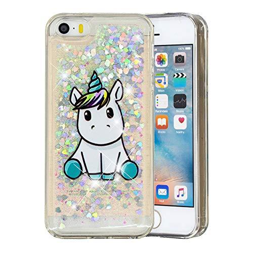 HopMore Compatible para Funda iPhone 5S / SE / 5 Silicona 3D Glitter Liquido Brillante Purpurina Motivo Transparente Dibujo Carcasa Resistente Antigolpes Caso Protección Soft Cover - Unicornio
