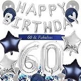 JOYMEMO Decoraciones del 60 cumpleaños Azul para Hombres Feliz cumpleaños Globo Número de Banner 60 Globos Faja para 60 años Suministros para Fiestas
