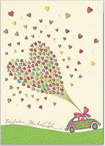 Große Hochzeits-Karte mit Reliefstruktur und Umschlag, hochwertig zum Beschriften mit Auto und bunten Herzen zur Hochzeit
