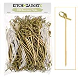 Bamboo Cocktail Picks - 300 Pack - 4.1 inch - With Looped Knot - Great for Cocktail Party or Barbeque Snacks, Club Sandwiches, etc. - Natural Bamboo - Keeps Ingredients Pinned Together - Stylish