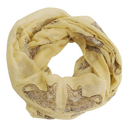 FEOYA - Bufanda Pañuela Cuello para Mujer Fular Delgado con Estampado de Gato Diseño Elegante Foulard Chal Casual - Armarillo