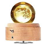 DUTISON Kristallkugel Spieluhr, 360° Rotierende hölzerne Spieluhr mit Licht, Beleuchtete Projektionsfunktion, Geschenk für Weihnachten, Erntedankfest, Geburtstag, Valentinstag - Mond