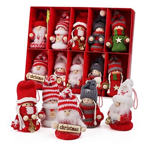Adorfine 10-teiliges Weihnachtswichtel Set Bunt Weihnachtsmann aus Holz und Strick Baumanhänger Weihnachtsanhänger mit Geschenkbox für den Weihnachtsbaum, Weihnachtsschmuck oder Geschenk Anhänger