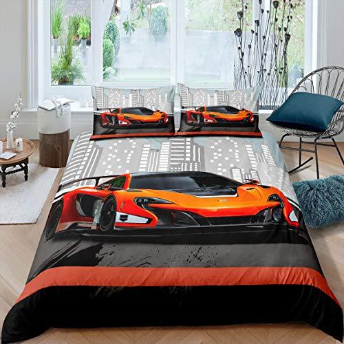 Loussiesd Bettwäsche 2 Teilig 135x200 cm Bettwäsche Set Sportwagen Auto Stadt Modern Bettbezug Set für Kinder Junge Weich Bequem Microfaser Betten Set inkl.1 Kissenbezüge 80x80 cm