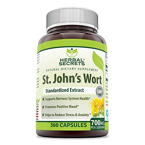 Herbal Secrets St. John's Wort 700 mg Per Serving 360 Capsules (Non-GMO) (Hypericum Perforatum) Extract- Helps Reduce Anxiety & Stress* Promotes Positive Mood*