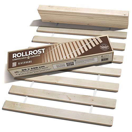 Riverbank Hochwertiger Birkenholz Rollrost Rolllattenrost mit 14 Extra Starken Latten & Hoher Tragfähigkeit | 90x200cm Lattenrost aus Massiver Birke mit hoher Tragfähigkeit | Bettrost 90 x 200
