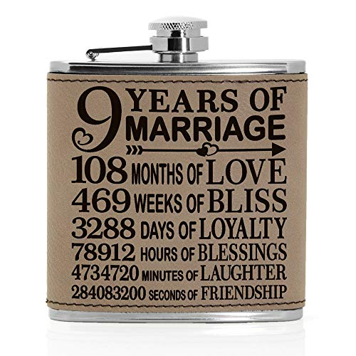 9 Years of Marriage Engraved Leather 6 oz Flask, Our 9th Wedding Anniversary, 9 Years as Husband & Wife, Gifts for Her, for Him, for Couples