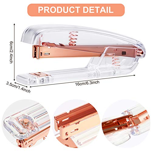 2 Pieces Acrylic Office Supplies Acrylic Stapler Clear Desk Stapler Acrylic Desktop Stapler Acrylic Office and Home Stapler for Office School Home Accessory School Stationery (Clear, Rose Gold) Photo #7