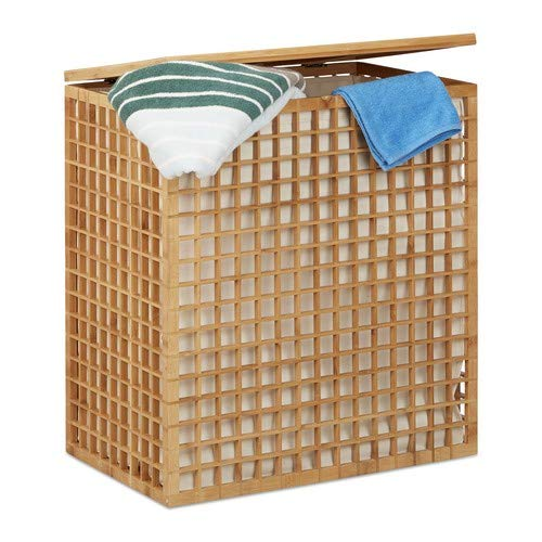 Relaxdays wasmand 2 vakken, hoekige wasmand met waszak, wasmand met 96 L, h x b x d: 62 x 56 x 35 cm, natuur