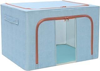 SHENRQIA Boîte De Rangement en Coton Et Lin avec Double Fenêtre Verticale Et Quatre Cadres en Acier Pliable en Acier Et Ti...