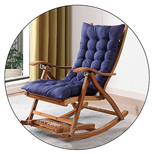 ZYYH Silla reclinable Plegable, Tumbona de bambú para jardín, con Respaldo Ajustable y reposapiés Extensible, Almohadilla de algodón, sillón reclinable portátil para balcón al Aire Libre, Carga 2