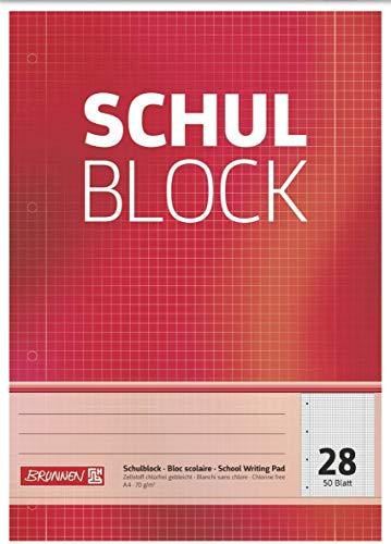 Brunnen 1052528 Schulblock/Notizblock (A4, 50 Blatt, kariert, mit Randlinien, Lineatur 28, gelocht, kopfverleimt, 70 g/m²) (10)
