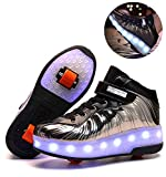 dhh Enfants LED Chaussures à Skates avec Roues LED Clignotante Baskets Mode Coloré Lumineux Patins à roulettes avec USB Rechargeable Chaussures De Skateboard pour Garçon Fille,Silver1-37