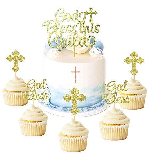 JeVenis 25 PCS Taufe Kuchendekoration Taufe Cupcake Dekoration Kreuz Kuchendekoration Kreuz Cupcake Dekoration