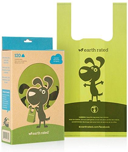 Earth Rated Lot de 120 sacs non parfumés pour déjections canines avec anses