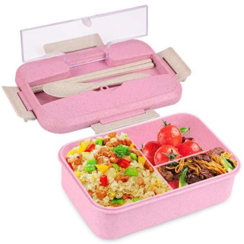 O-Kinee Brotdose Lunch-Boxen Kinder, Bento Box Lunchbox mit 3 Fächern und Besteck, Vesperdose Mikrowelle Heizung