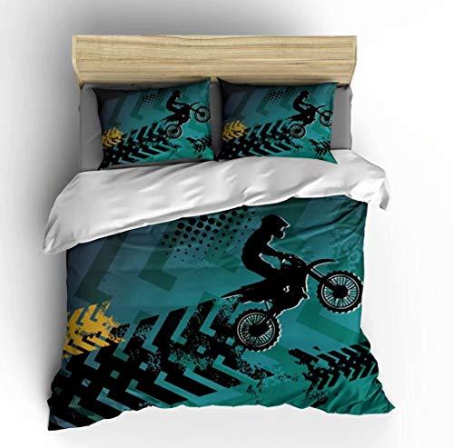 Vichonne - Juego de ropa de cama para bicicleta de cross, 3 piezas, con fundas de almohada, color blanco y negro, sin edredón