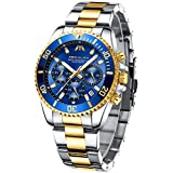 MEGALITH Mens Watches with Stainless Steel Waterproof Analog Quartz Fashion Business Blue Chronograph Watch for Men, Auto Date