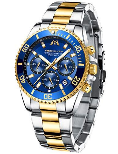 MEGALITH Herrenuhr Edelstahl Chronographen Herren Armbanduhr Großes Wasserdicht Designer Uhren fur Männer Leuchtende Analog Datum Kleid Mode