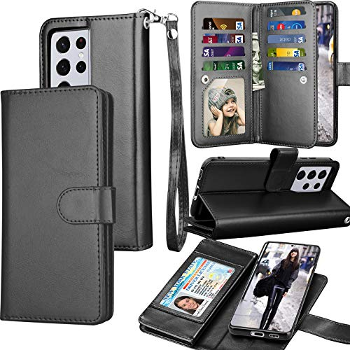 Tekcoo Wallet Case for Galaxy S21 Ultra, Luxury PU Leather ID Cash Credit Card Slots Holder Carrying Folio Flip Cover [Detachable Magnetic Hard Case] Kickstand for Samsung Galaxy S21 Ultra [Black]