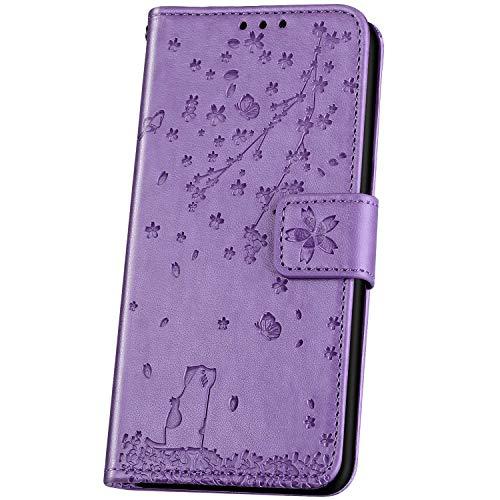 JAWSEU Handyhülle für Huawei Y6 2019 Hülle Leder,Prägung Kirschblüte Katze Muster PU Leder Tasche Flip Hülle Wallet Tasche Klapphülle Handytasche Flip Schutzhülle für Y6 2019,Lila