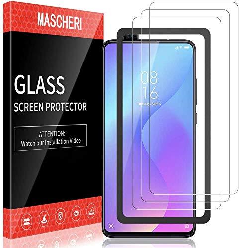 MASCHERI 3 Stück schutzfolie für Xiaomi MI 9T MI 9T Pro Schutzfolie Ausgestattet mit einem Einbaurahmen 9H Härte Blasenfrei Displayschutzfolie