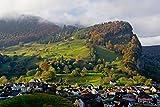 Autumn Nature And Village At Sunrise Liechtenstein Europe