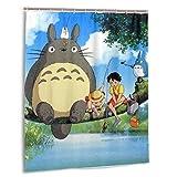 gdingxiantengsubaihuoshang Japan Anime Totoro Duschvorhang Badezimmer Dekoration Wasserdicht Duschvorhänge mit 12 Kunststoffhaken 60 X 72 Zoll