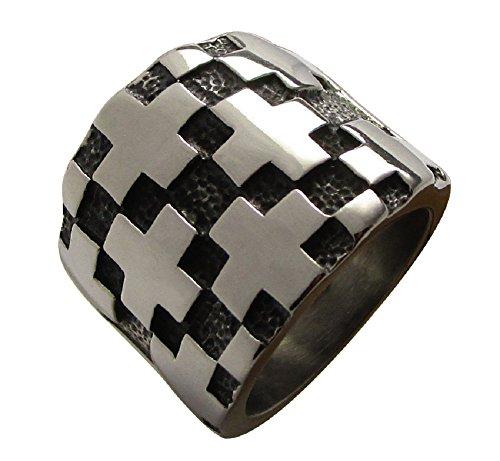 Anello da Uomo Croce Edelmann anello in acciaio inox uomo anello uomini Kikuchi, acciaio inossidabile, 20, colore: argento, cod. RI15140