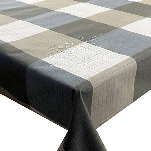 Meterware Stoff Farbe, Breite & Länge wählbar - Kariert Beige Grau TEFLON Eckig 120 x 170 bzw. 170x120 cm Tischdecke