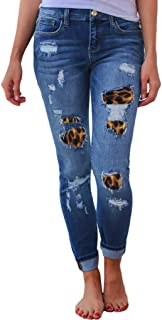 Womens Leopard Patchwork Length Jeans High Waisted Zipper Hole Button Denim Jeans