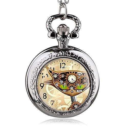 LiQinKeJi8 Reloj de bolsillo de bronce antiguo Steampunk gato collar reloj de bolsillo colgante regalo para hombres y mujeres (color: plata C)