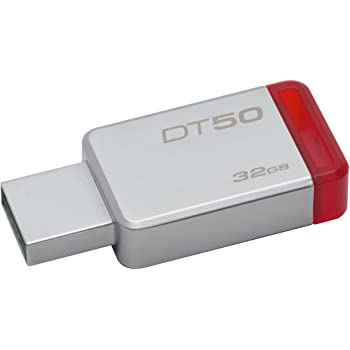 Kingston DT50/32GB - Memoria, USB 3.0, 32GB, color Rojo Metálico