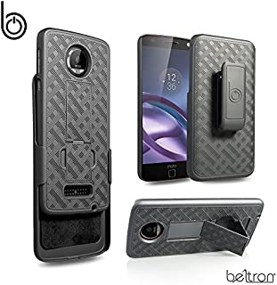 Motorola Moto Z Droid Slim Protective Rubberized Grip Case & Swivel Belt Clip Holster Combo w/Built-in Kickstand (NOT Compatible with Moto Z Force or Z Play)