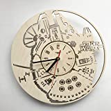 Star Wars Millennium Falcon スターウォーズミレニアム・ファルコン木製掛け時計ー完璧で美しく作られたー現代アートで自宅を飾ろうー彼と彼女にユニークなギフトーサイズ12インチ(30 ㎝)