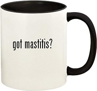 got mastitis? - 11oz Ceramic Colored Handle and Inside Coffee Mug Cup, Black
